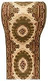 WE LOVE RUGS CARPETO Läufer Teppich Flur in Grün Creme - Orientalisch Muster - 3D-Effekt Dichter und Dicker Flor - Läuferteppich nach Maß - ISKANDER Kollektion 120 x 300 cm