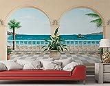 Fototapete Terrasse mit Blick aufs Meer - Größe 366 x 254 cm, 8-teilig