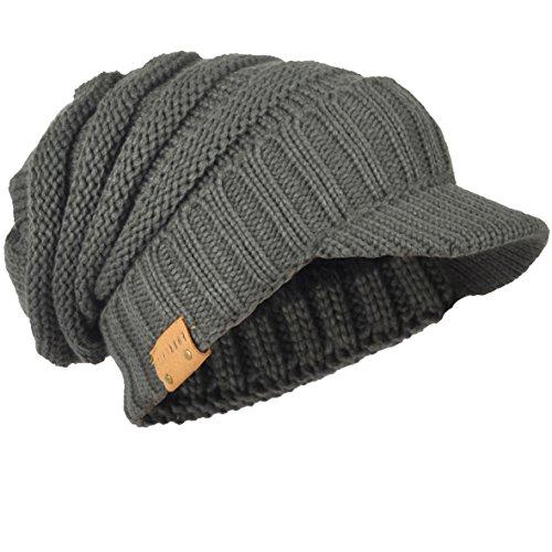 Herren Dick Knit Newsboy Cap Visier Mütze Hut Fleece Gefüttert Strickmützen B319 (Grau)
