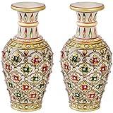 Handicrafts Paradise Mehrab Design Marble Flower Vase Set (7.64 Cm X 7.64 Cm X 15.29 Cm, Set Of 2)