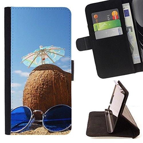 FJCases Sommer Kokusnuss Strand Sonnenbrille Tasche Brieftasche Hülle Schale Standfunktion Schutzhülle für Samsung Galaxy J3 Emerge / Galaxy J3 Prime / Galaxy J3 Eclipse / Galaxy J3 Mission