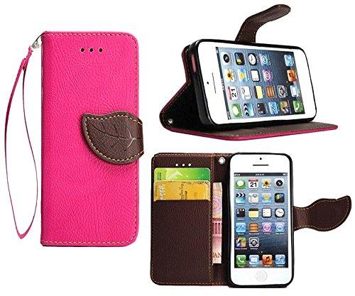 MOONCASE iPhone SE Case,Custodia in pelle Protettiva Portafoglio Flip Case Cover per iPhone 5 5S Verde Fuxia