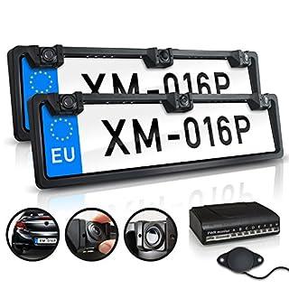 XOMAX XM-016P Einparkhilfe Set: 2X Kennzeichen Halterung vorne und hinten, hinten mit Rückfahrkamera, 4 Distanzsensoren, Wasserfest IP67 I CMD Kamera I Nachtsicht 1,5 LUX I 170° h I 120° v