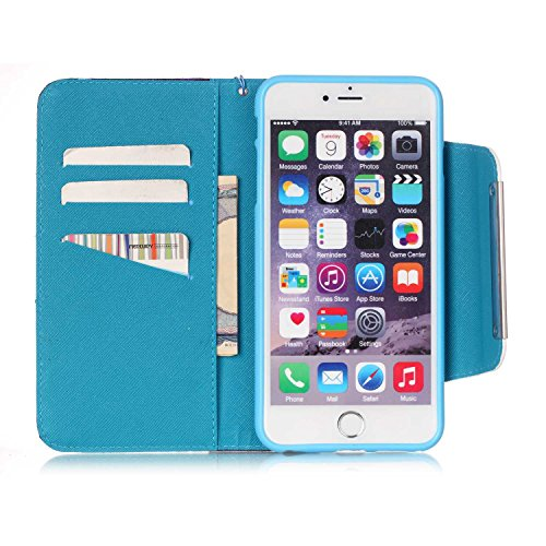 iPhone 6S Plus Hülle, iPhone 6 Plus Hülle, ISAKEN iPhone 6S Plus /6 Plus Hülle Muster, Handy Case Cover Tasche for iPhone 6S Plus / 6 Plus, Bunte Retro Muster Druck Flip Cover PU Leder Tasche Case Sch Gelb Braun