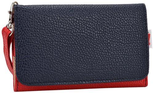 Kroo esamwlb1Epi-Slim Clutch Wallet Schutzhülle aus Leder für Smartphone, Red and Dark Blue, Up to 4 Inch Radar-bb