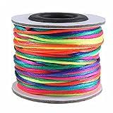 maDDma  30m Satin-Schnur Kordel Flechtschnur Kumihimo 1mm, Farbwahl multicolor mehrfarbig, Farbe:multicolor