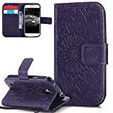 EMAXELERS Galaxy S4 Mini Hülle Mandala Sunflower Prägung Muster PU Leder Wallet Case Flip Cover im Etui Brieftasche mit Standfunktion für Samsung Galaxy S4 Mini,Purple Left and Right Sunflower