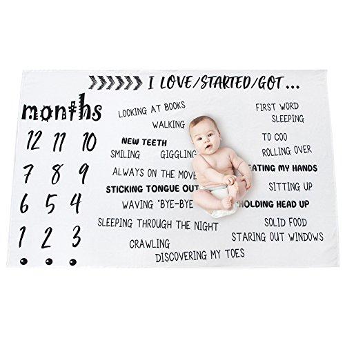oting Decke Neugeborenen Monatliche Meilenstein Decke Fotografie Requisiten Hintergrund 100cm x 145cm, Worten Muster ()