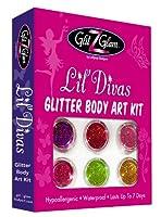 Kit de tatuajes con brillantina: Lil Divas con 6 brillantinas grandes y 12 plantillas para tatuajes temporales reutilizables de GlitZGlam