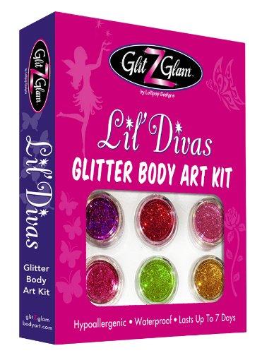 Glitzer-Tattoo-Kit: Lil' Divas mit 6 großen Glitzerdosen & 12 Schablonen für Temporär-Tattoos