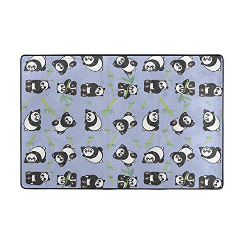 MALPLENA Malplea Cartoon Cute Panda Bambus Teppich für Wohnzimmer Fußmatte Teppich Fußmatten Schuhe Schaber für Wohnzimmer/Esszimmer/Schlafzimmer/Küche Rutschfest, Polyester, 1, 72 x 48 inch