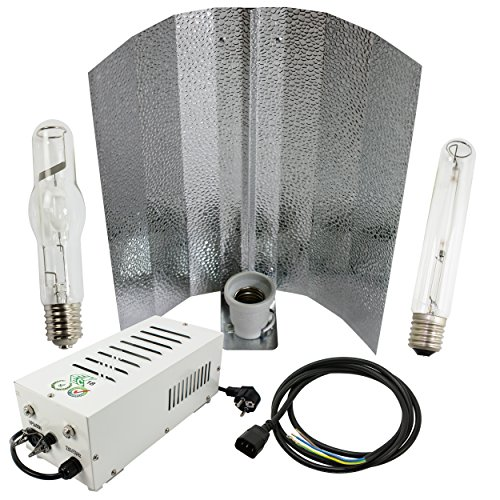 Cultivalley 400W Grow-Set, Profi Pflanzenbeleuchtung, Plug & Play Bausatz mit NDL Natriumhochdruck-Leuchtmittel HPS für die Blüte & Halogen-Metalldampflampe MH Wuchslicht, Pflanzenlicht -