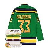 AFLGO Greg Goldberg 33Mighty Ducks Hockey Jersey Genäht Enthalten Set Armbänder XXXL FC Schalke 04Grün, Grün, XXX-Large