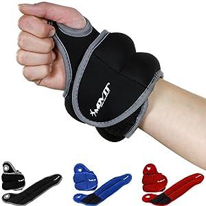Movit® 2er Set Neopren Gewichtsmanschetten mit Daumenschlaufen, 4 Varianten 2X 0,5kg – 2X 2,0kg, 3 Farben Laufgewichte für Handgelenke