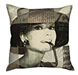 Air Castle- Home Decore- Polyester & Polyester Blend- Audrey Hepburn Cushion Cover best price on Amazon @ Rs. 789