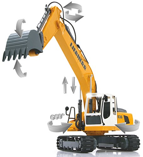 Jamara 405060 - Bagger Liebherr R936 1:20 2,4G - realistische Funktionen (entladen/ aufladen), jedes Gelenk einzeln steuerbar, 660 ° Turmdrehung, Metallschaufel, Motorsound, Hupe, Rückfahrwarnsound - 3