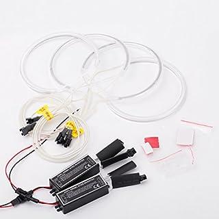 KKmoon 4Pcs 131mm/146mm LED Reflector Lamp, 6000K CCFL Angel Eyes Halo Ring Light Kit, Headlight Angel Eyes Ring for BMW Series 3 E46