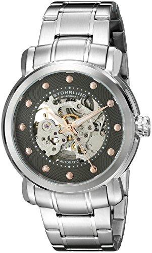 Original Legacy Stuhrling para Hombre Reloj automático con Esfera Gris analógica y Plateado Correa de Acero Inoxidable de 644,03