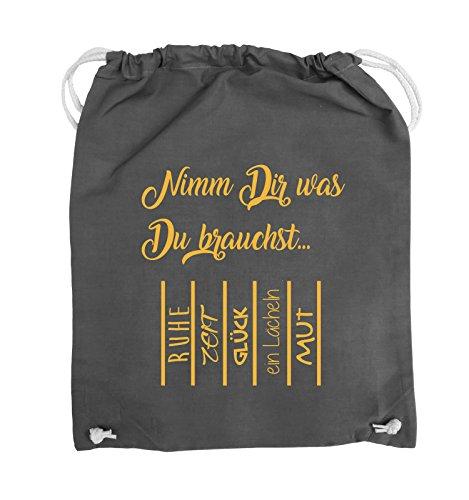 Comedy Bags - Nimm Dir was Du brauchst - ABREIßZETTEL - Turnbeutel - 37x46cm - Farbe: Schwarz / Pink Dunkelgrau / Gelb