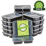 Homelody Meal Prep 20pcs Boîte Repas Boîte Alimentaire Préparation 3 Compartiments Boîte Micro Onde,Bento Box Sans BPA Réutilisable et Empilable Compatible Micro-onde et Lave-vaisselle