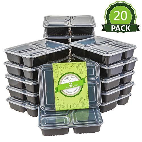 HOMELODY 20er Pack Frischhaltedose 3-Fach Meal Prep Container Frischhaltedosen Bento-Box Set mit Deckel Spülmaschine, Mikrowelle, Gefrierschrank Safe Lebensmittelbehälter