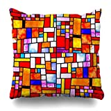 Trsdshorts Throw Pillows Covers Pattern Multicolored Stained Glass Black Window Irregular Abstract Blue Cushion Case Pillowcase Home Sofa Couch Square Size 18 x 18 Inches Pillowslips