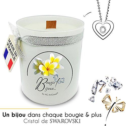 AG ArtGosse - Vela de joyería Monoï de Tahiti con Cristal de Swarovski Perfume de Grasa y Mecha de Madera. La Joya Oculta se desvela después de 30 Minutos. Caja de Regalo Colgante.