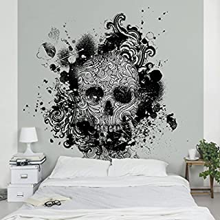 APALIS Wallpaper Skull Photo Square with 98008Size, Grey, 192 x 192 cm