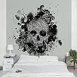 Apalis Vliestapete Skull Fototapete Quadrat | Vlies Tapete Wandtapete Wandbild Foto 3D Fototapete für Schlafzimmer Wohnzimmer Küche | Größe: 192x192 cm, grau, 98008
