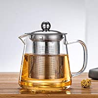 WTING Cristal Tetera con Infuser, Capacidad 450 ml 550 ml 750 ml 950 ml de la Tetera, desprendible Inoxidable Resistente al Calor Juego de té para té Suelto y café,450ml