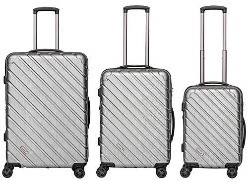 Packenger Premium Koffer, Trolley, Hartschale  3er-Set Vertical in Silber-Metallic, Größe M, L und XL