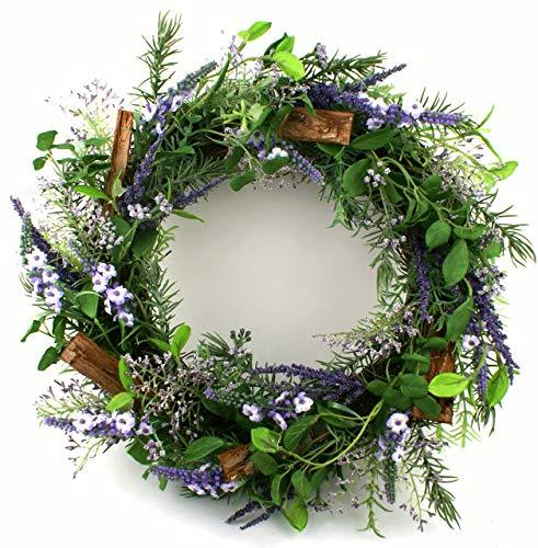 Präsente Shop Blütenkranz Blumenkranz Wandkranz Türkranz Lavendel Rosmarin Kunstpflanzen Ø ca. 36 cm (Mediterrane-kranz)