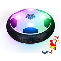 Pulchra Air Football (Luces LED incorporadas y Parachoques de Espuma) Electronic Power Hover Footballs Disc para niños Deportes Baubles Gifts Indoor & Outdoor Training Game Ball (Black)