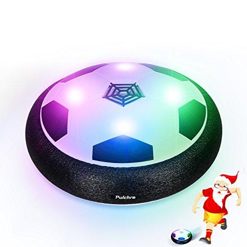 Pulchra Air Fußball (LED Lichter & Schaum Stoßstangen eingebaut) Elektronische Power Hover Ball Fußball Disc für Kinder Sport Spielzeug Geschenke Indoor & Outdoor Training Spiel Ball (Schwarz, Durchmesser: 18cm)