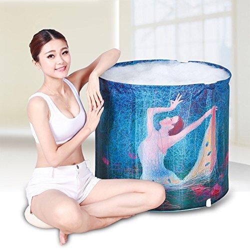 CLG-FLY Nach aufblasbare Gepolsterte faltbare Badewanne aus durchsichtigem Kunststoff Whirlpool Badewanne barrel, Blau