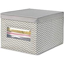 mDesign Caja organizadora de tela grande – Caja para guardar ropa, zapatos, bolsos,