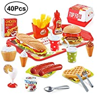 BeebeeRun 40PCS Play Food Kitchen Toys,Pretend Role Play Toys for Kids Children,Educational Toy for 3 Year Old Girl Boy,Gift Box