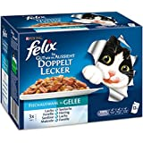 Felix So gut wie es aussieht Katzenfutter Doppelt Lecker mit Fisch Mix, 6er Pack (6 x 12 x 100 g) Beutel