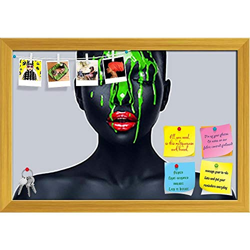 Artzfolio Woman With Green Paint Printed Bulletin Board Notice Pin Board | Golden Frame 23.5 X 16Inch