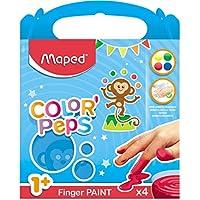 Maped Color'Peps 4 Pots de Peinture Doigt pour Bébé et Enfant dès 1 an - Gouache Pots de 80 gr - Nettoyage Facile à l'eau - Couleurs Assorties