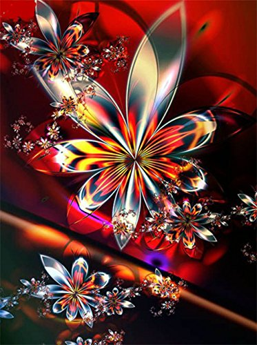 sunnymi 5D Diamant Stickerei Full Drill Phantom Schmetterlinge DIY Diamond Painting Dekoration (Spiegel Blumen 30*40cm)