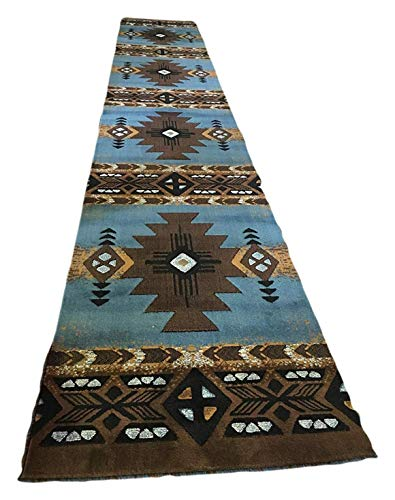 Southwest Native American Fußmatte Teppich Bereich Ivory Design # C318(15,2. x3ft. 4Zoll.), Polyester-Mischgewebe, Blue-Brown, 2 Feet 4 Inch X 10 Feet 11 Inch - Schwarz Persian Rug