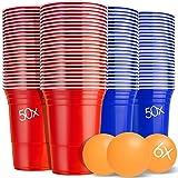 KESSER® Partybecher 100 Stück mit 6 Bällen | 50 Blau und 50 Rote | Beer Pong Party Cups | 473 ml (16 oz) | Bierpong Becher extra stark | Kunststoffbecher Plastikbecher Camping