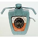 Magnifique horloge Biker vintage en métal gris Cadran tableau de bord de moto ancienne Harley (Gris)...
