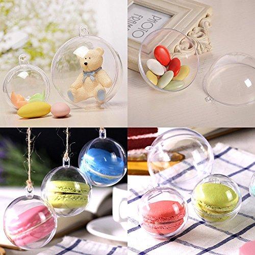 Uten 20 x Bolas de Navidad Forma Redonda Plástico Transparente para Decorar el arbol de Navidad no Incluye Cuerda (8CM)