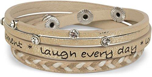 styleBREAKER Wickelarmband mit Strasselement, Schriftzug und filigranem Flechtelement, Armband, Damen 05040097, Farbe:Gold