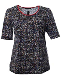 d7dde7c98a3de2 Sempre piu Damen Stretch T-Shirt Blau Bunt Mist Strass Sommer-Shirt große  Größen