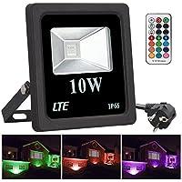 Faretto RGB LED 10W Proiettore Multicolor Faretti da Giardino Proiettore RGB IP66, 16 colori 4 modalità Dimmerabile 360° Telecomando Controllato