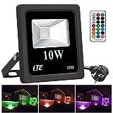 LTE 10W Proyector LED de Colores, Foco RGB Exteriores, 16 Opciones, 4 Tipos de Modos, 360° Control Remoto, IP66 Impermeable, Decoración de Jardín, Terraza