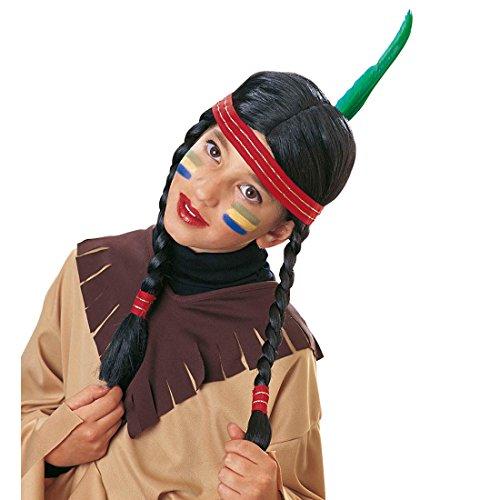 NET TOYS Kinder Perücke Indianerin schwarz Karneval Mädchen Kinderperücke Indianer Indianerperücke ()